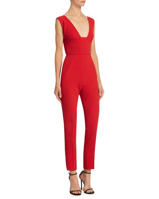 Roland Mouret - Red Jumpsuit With Cut-out Back - Lyst