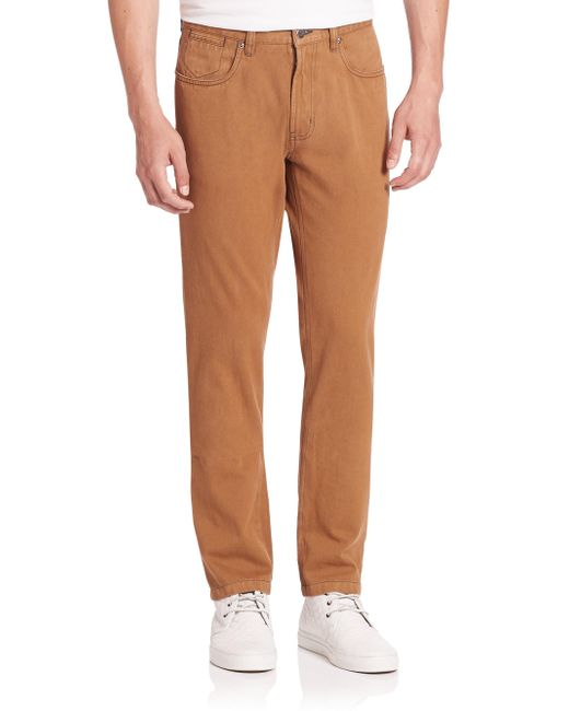 Saks Fifth Avenue - Brown Collection Sulfur Dyed Cotton Pants for Men - Lyst