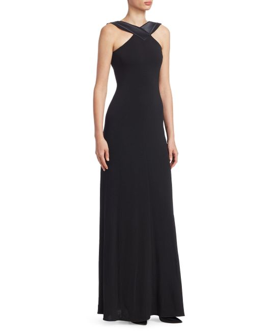 Emporio Armani - Black Double-face Jersey Gown - Lyst