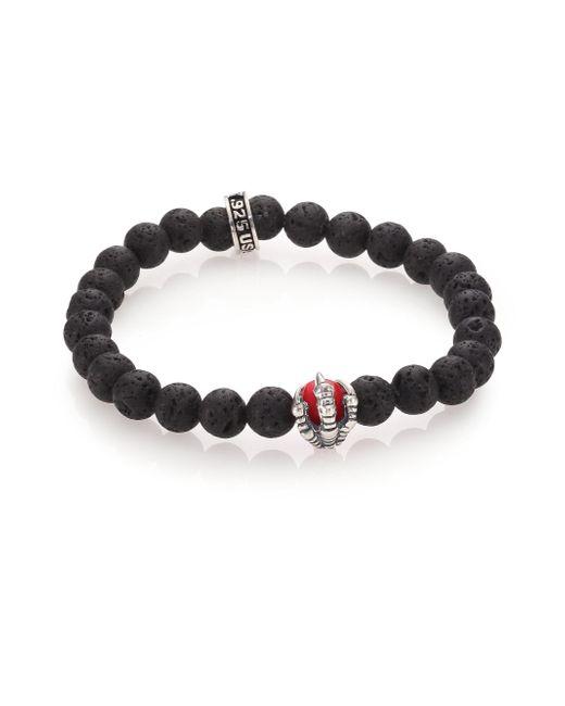 King Baby Studio - Black Lava Rock & Coral Raven Claw Beaded Bracelet for Men - Lyst