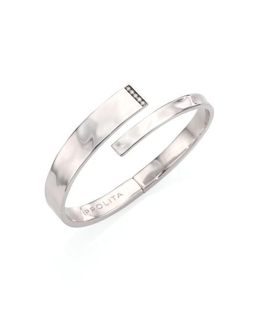 Ippolita | Metallic Sensotm Diamond & Sterling Silver Embrace Bangle Bracelet | Lyst