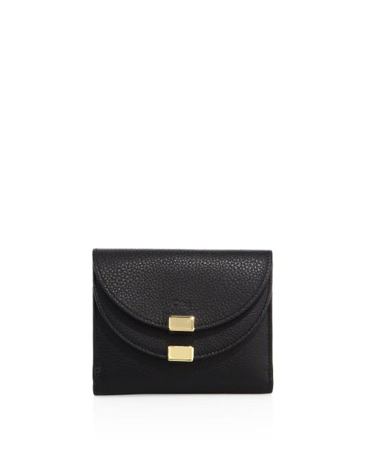 Chloé - Black Georgia Square Leather Wallet - Lyst