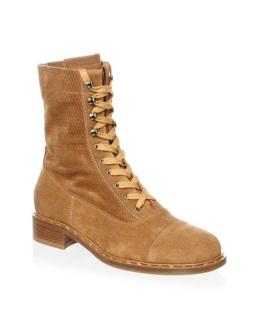 Aquatalia - Brown Brigitta Suede Lace-up Boots - Lyst
