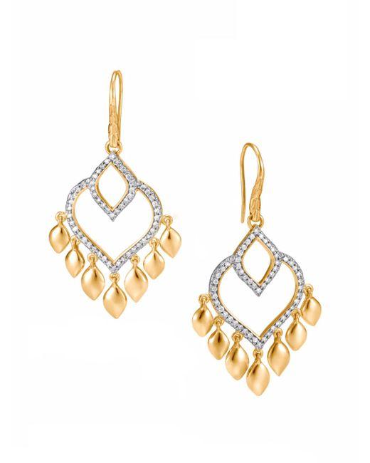 John Hardy | Metallic Legends Naga Diamond Pave, 18k Gold Chandelier Earrings | Lyst