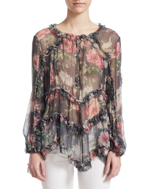 Zimmermann - Multicolor Iris Ruffle Silk Top - Lyst