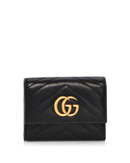 Gucci Black GG Marmont Matelassé Wallet