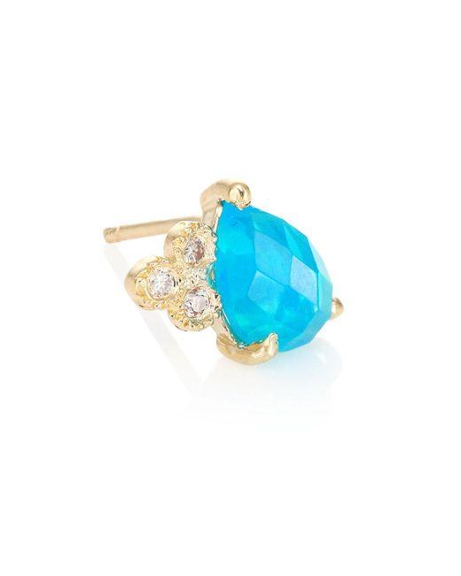 Jacquie Aiche - Diamond, Blue Opal & 14k Yellow Gold Teardrop Single Stud Earring - Lyst