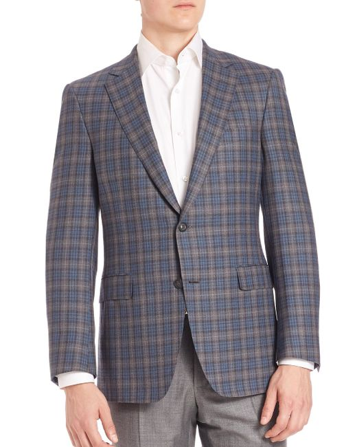 Saks Fifth Avenue - Gray Collection By Samuelsohn Classic-fit Tartan Wool Plaid Jacket for Men - Lyst