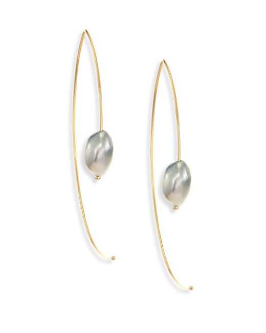 Mizuki - Metallic 7mm Light Grey Baroque Tahitian Pearl & 14k Yellow Gold Large Open Marquis Earrings - Lyst