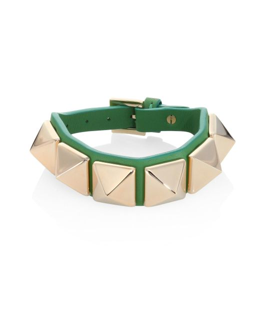 Valentino - Black Rockstud Large Leather Bracelet - Lyst