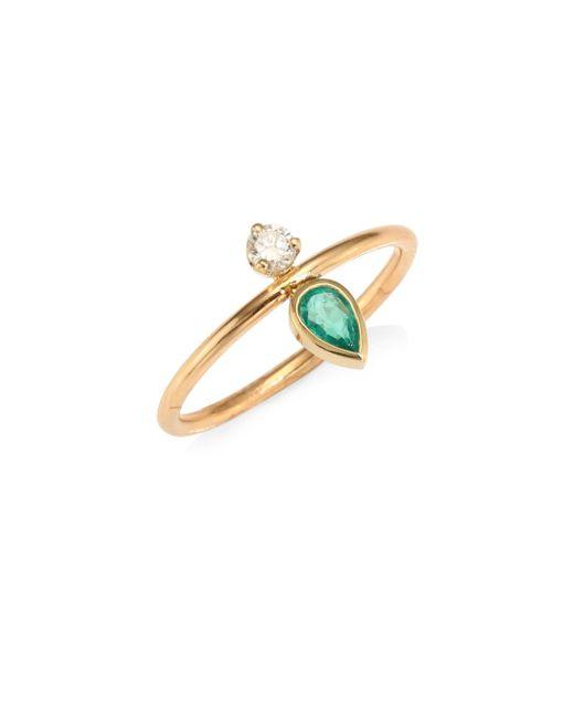 Zoe Chicco - Metallic Emarald, Diamond & 14k Yellow Gold Ring - Lyst