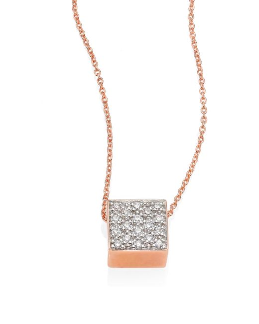 Ginette NY | Metallic Baby Diamond Ever 18k Rose Gold Pendant Necklace | Lyst
