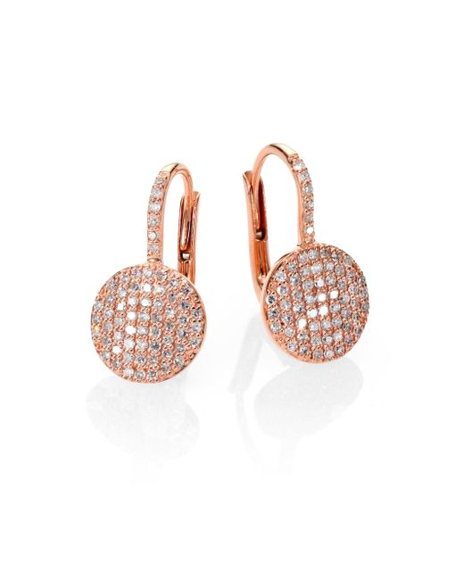 Phillips House - Pink Affair Diamond & 14k Rose Gold Petite Infinity Earrings - Lyst