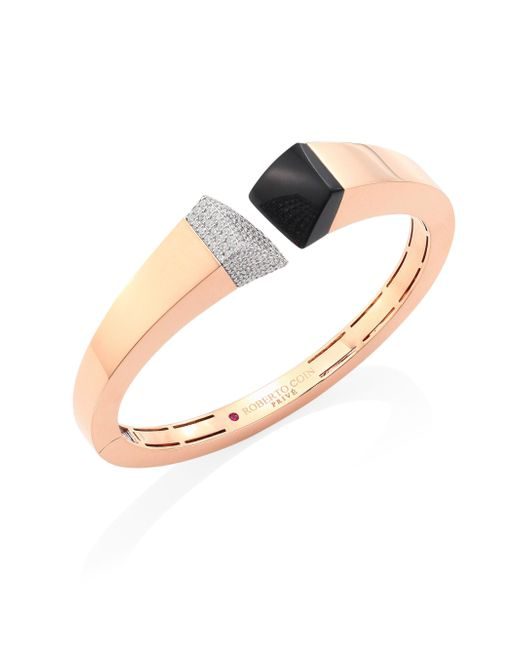 Roberto Coin - Metallic Prive Pave Diamond, Black Jade & 18k Rose Gold Bangle - Lyst