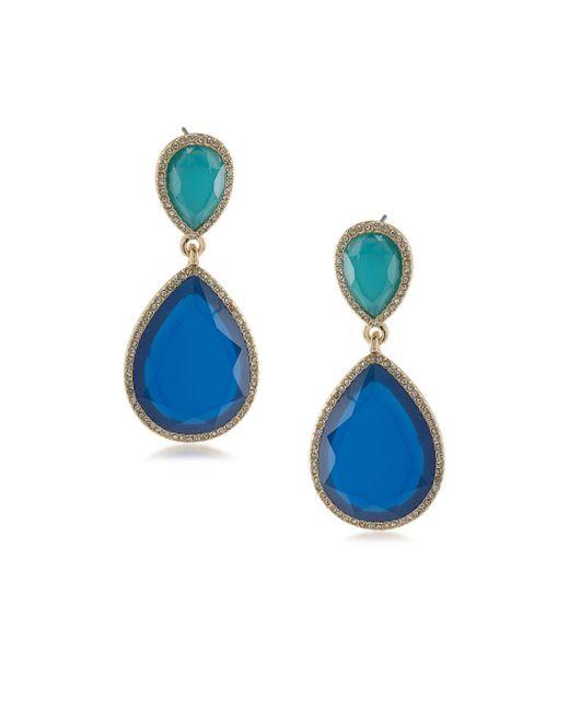 ABS By Allen Schwartz - Blue Double Drop Earrings - Lyst