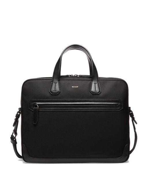 Bally - Black Textured Zip Briefcase for Men - Lyst