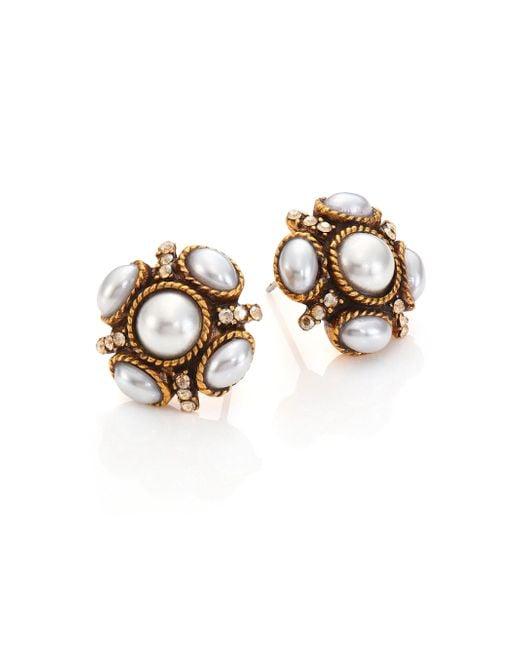 Oscar de la Renta | Metallic Crystal & Faux Pearl Stud Earrings | Lyst