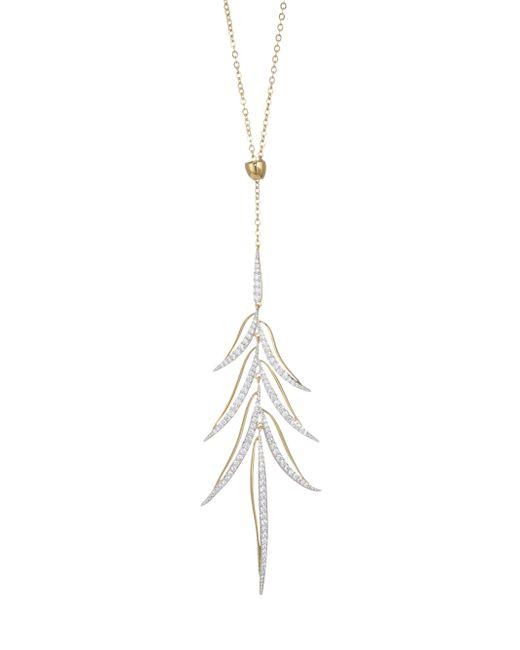 Adriana Orsini - Metallic Pirouette Pull-through Leaf Crystal Pendant Necklace - Lyst