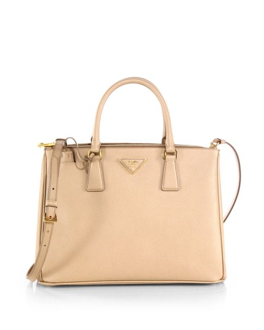 Prada - Natural Saffiano Lux Medium Double-zip Leather Satchel - Lyst