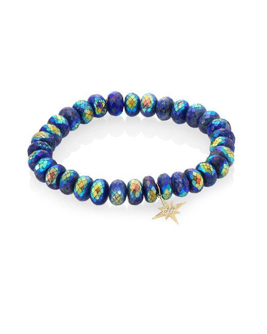 Sydney Evan - Blue Lapis, Diamond & 14k Gold Rondelle Starburst Bracelet - Lyst