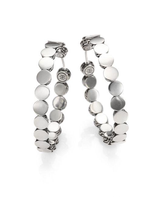 John Hardy   Metallic Dot Sterling Silver Hoop Earrings/1.5   Lyst