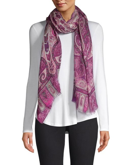 Etro - Pink Paisley Print Cashmere Scarf - Lyst