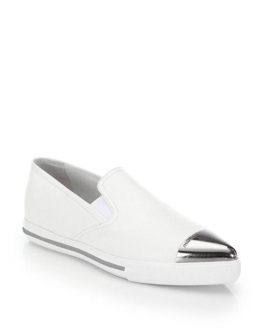 Miu Miu - White Cap Toe Slip-on Sneakers - Lyst