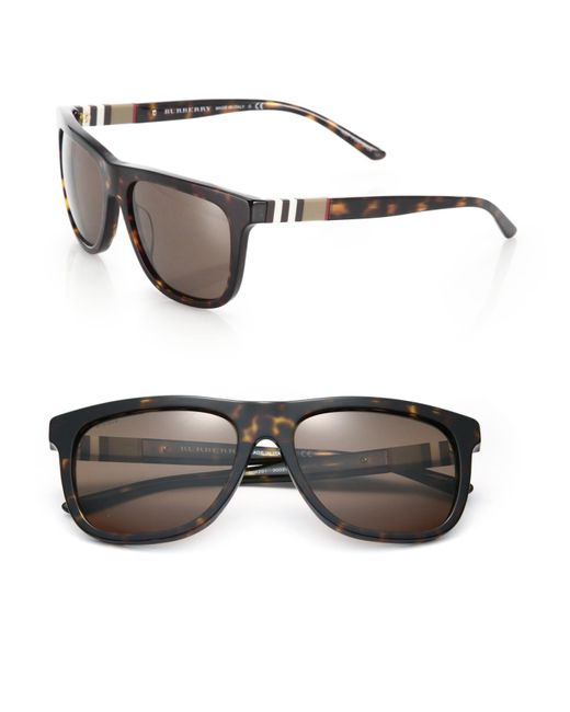 Burberry - Brown 58mm Square Sunglasses for Men - Lyst