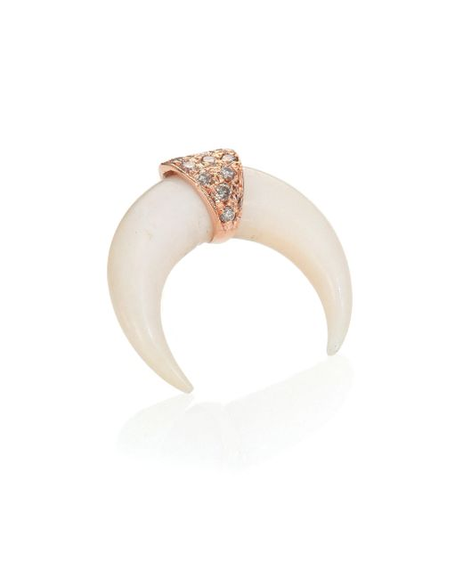 Jacquie Aiche | Pink Bone, Diamond & 14k Rose Gold Mini Horn Single Stud Earring | Lyst