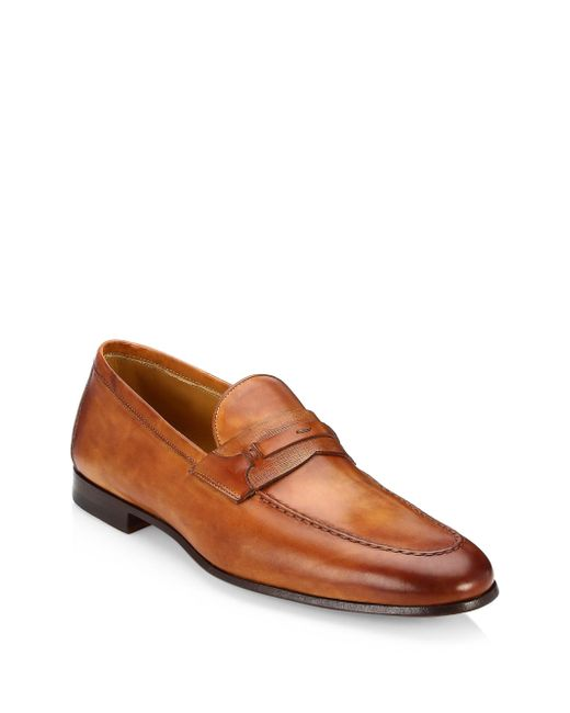 Saks Fifth Avenue - Brown Collection By Magnanni Tri-media Penny Loafers for Men - Lyst