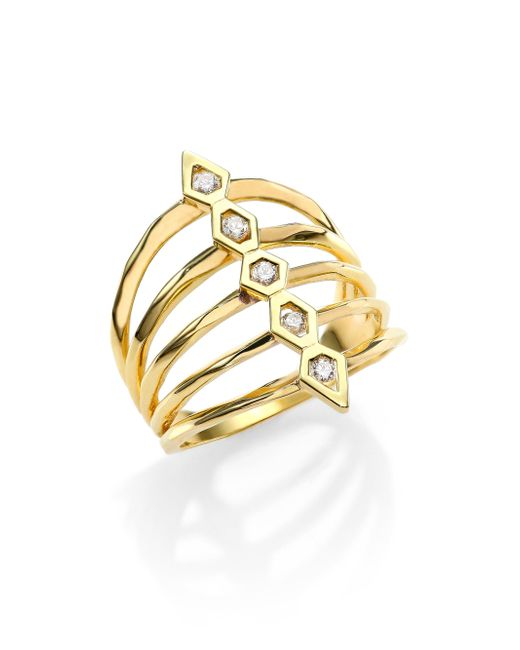 Ron Hami | Metallic Rain Diamond & 18k Yellow Gold Five-row Totem Ring | Lyst