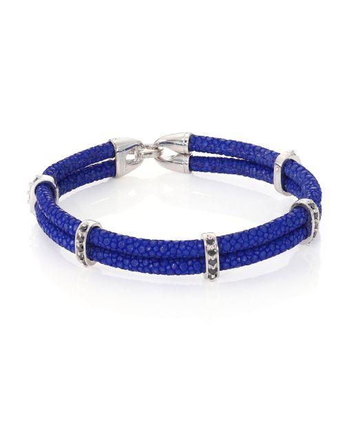 Stinghd | Blue Black Diamond, Silver & Stingray Wrap Bracelet for Men | Lyst