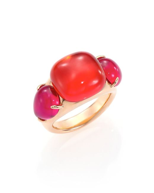 Pomellato | Pink Rouge Passion Tangerine Three-stone Ring | Lyst