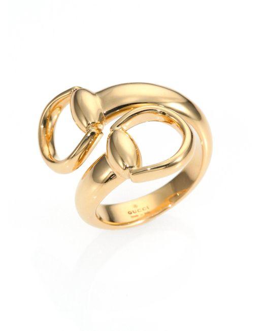 Gucci - Metallic Horsebit 18k Yellow Gold Ring - Lyst