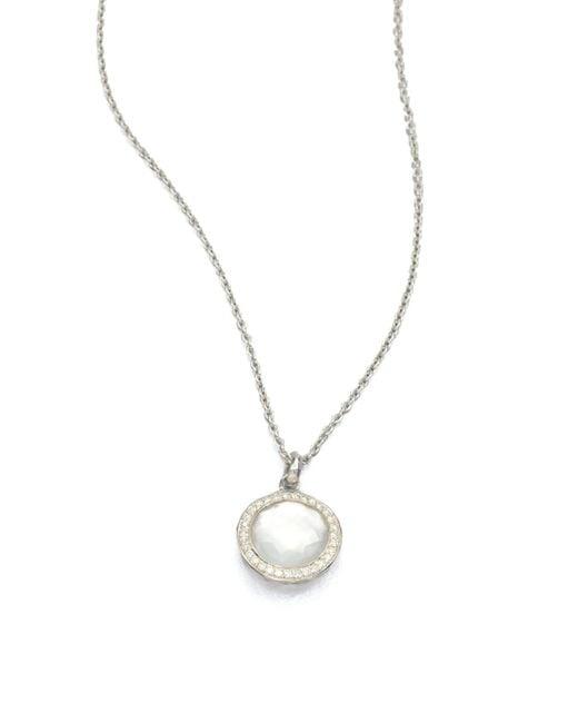 Ippolita - Metallic Stella Mother-of-pearl, Clear Quartz, Diamond & Sterling Silver Lollipop Doublet Pendant Necklace - Lyst