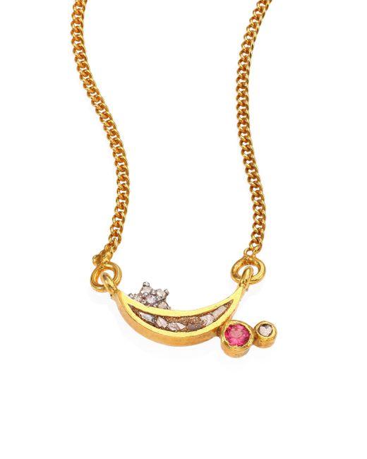Shana Gulati - Metallic Kolar Diamond & Pink Tourmaline Pendant Necklace - Lyst