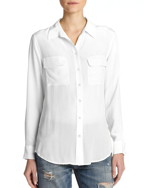 Equipment - White Slim Signature Silk Shirt - Lyst