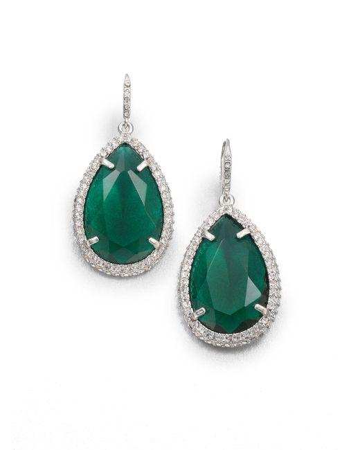 ABS By Allen Schwartz - Green Faceted Drop Earrings - Lyst