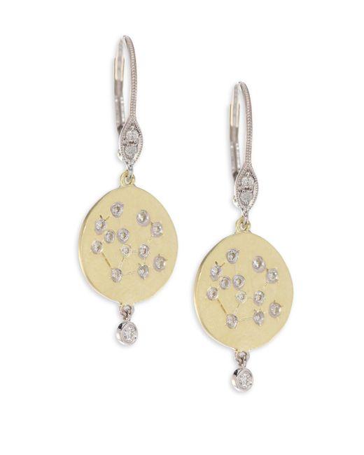 Meira T - Metallic Diamond & 18k Yellow Gold Disc Earrings - Lyst