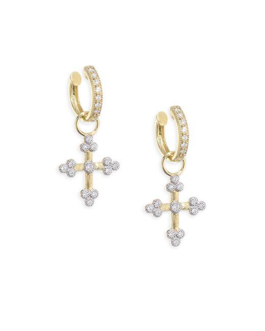 Jude Frances - Metallic Provence Tiny Diamond Cross Earring Charms - Lyst
