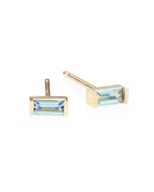Zoe Chicco | Metallic Aquamarine & 14k Yellow Gold Baguette Stud Earrings | Lyst