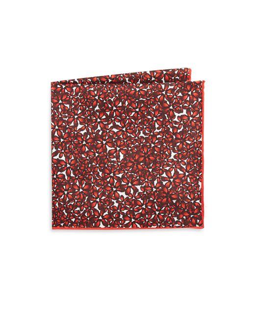 Hook + Albert | Red Islets Silk Pocket Square | Lyst