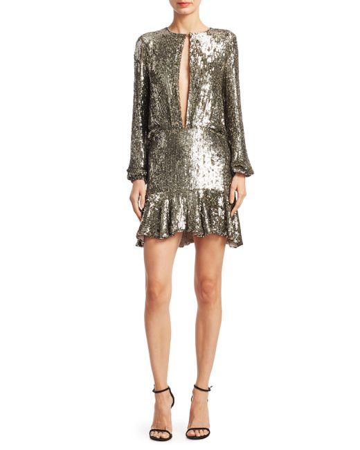Lyst Alexis Tamera Metallic Sequin Mini Dress In Gray