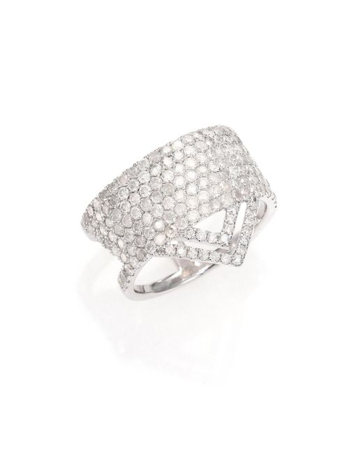 Meira T - Metallic Pave Diamond & 14k White Gold Ice Ring - Lyst