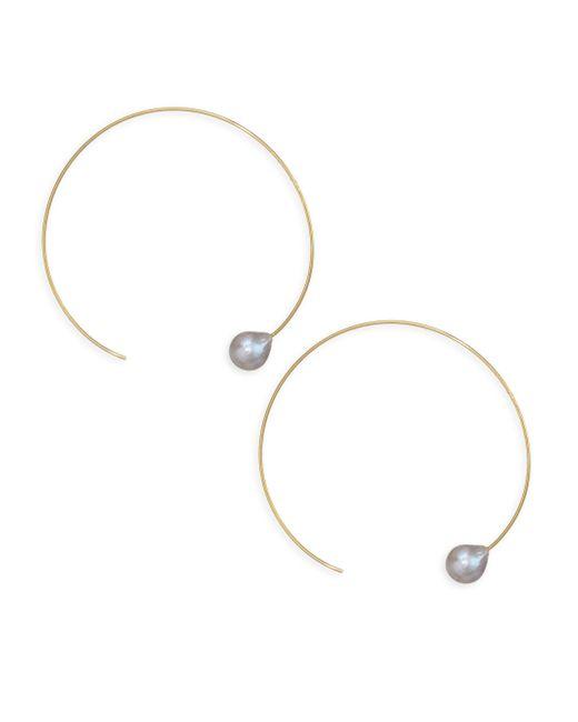 Chan Luu - Metallic Freshwater Pearl Hoop Earrings - Lyst