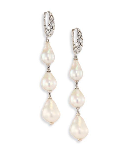 John Hardy | Metallic Legends Naga 8-11mm White Baroque Pearl & Sterling Silver Dangle Drop Earrings | Lyst