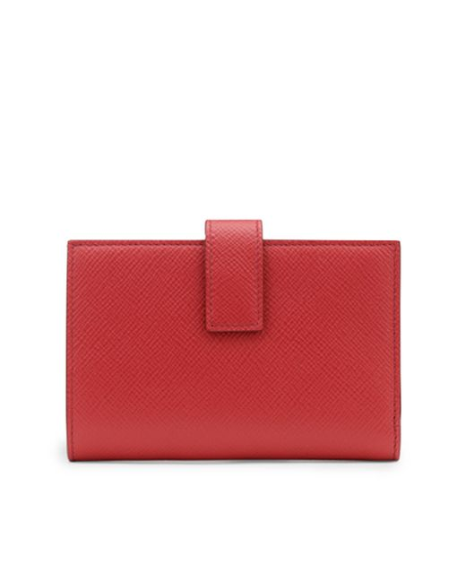 Smythson - Red Panama Continental Leather Purse - Lyst