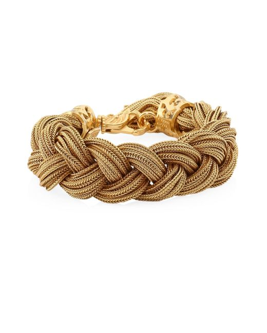 Emanuele Bicocchi - Metallic Wide 24k Goldplated Sterling Silver Braided Bracelet - Lyst