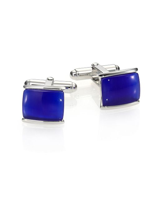 David Donahue - Blue Tiger's Eye & Sterling Silver Cuff Links for Men - Lyst