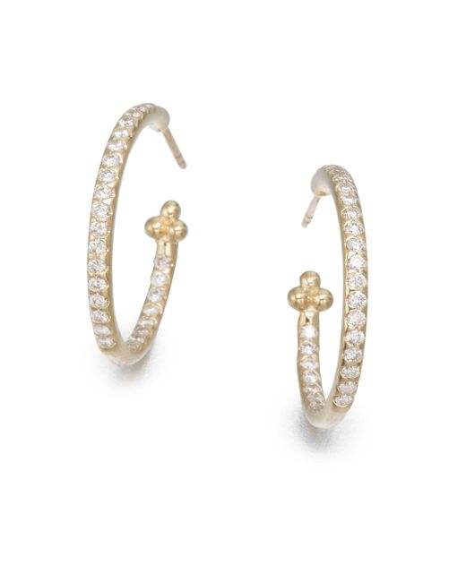 Temple St. Clair - Metallic Classic Diamond & 18k Yellow Gold Hoop Earrings/0.7 - Lyst